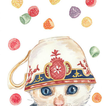 Kitten and Teacup Watercolor Print Gumdrops by WaterInMyPaint
