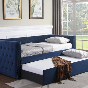 Asia Direct 8616 Suzanne II collection blue tufted linen like fabric upholstered twin size day bed with trundle