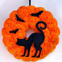 Halloween wreath Black cat wreath Halloween decorations Door wreath Wall decorations All Saints' Eve Wall door hanging Halloween door decor