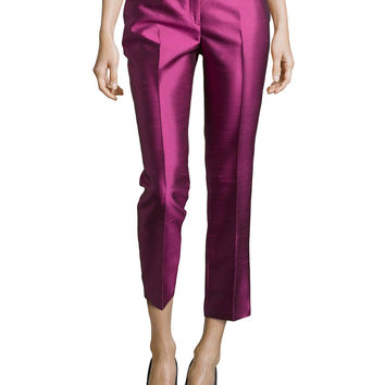 Samantha Cropped Shantung Pants,
