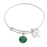 Expandable Bangle Bracelet Birthstone May Charm Silver Plate