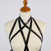 Leather fashion harness Halter neck chest harness in black leather