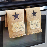 Decorative Country Runner or Oven Hangers Faith Family Friend Inspirational Word Country Star