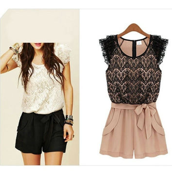 Chiffon and Lace Romper = 5709689857