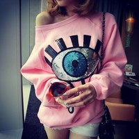 Pink Sequined Crying Eye Warm Fleece Sweatshirt