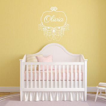 Wall Decal Chandelier Frame Personalized Nursery Girls Room Custom Vinyl Wall Decal 22504