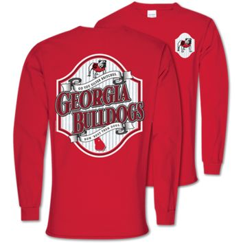 Southern Couture Classic Georgia Bulldogs Seersucker Long Sleeve T-Shirt