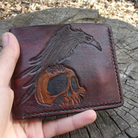 Leather wallet, Skull, Raven, Crow, Hand Made, Credit card wallet, biker wallet, carved wallet, hand-tooled wallet