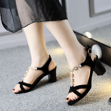 Black Big size 34-44 Women Sandals Genuine Leather Cow Split Rhinestone Chains Ankle Strap Buckle Square heel High-heeled Shoes