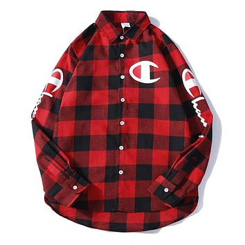 Champion street fashion men's and women's loose wild plaid print retro shirt Red