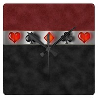 Poker Cards Suite Games Black Red Suede Look Wall Clock