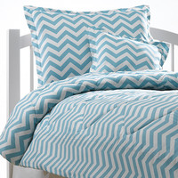 Queen Tiffany Blue Chevron Bedding Set - FREE EURO SHAMS WITH PURCHASE