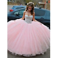 Pink Beaded Ball Gown Graduation Party Dresses pst0182