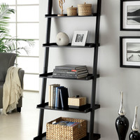 Sion contemporary style black finish wood 5 tier leaning bookcase shelf