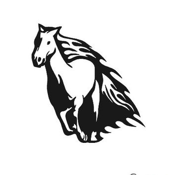 Vinyl Wall Art Decal Sticker Horse Mustang in Flames #0006
