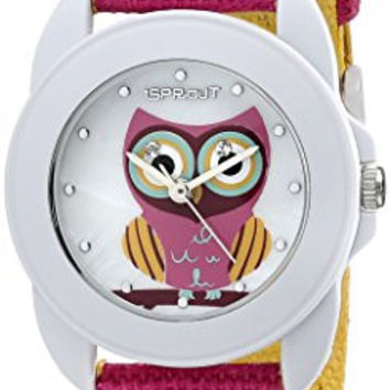 Sprout Women's ST/1061MPDP Swarovski Crystal Accented Owl Dial Dark Pink Organic Cotton Strap Watch