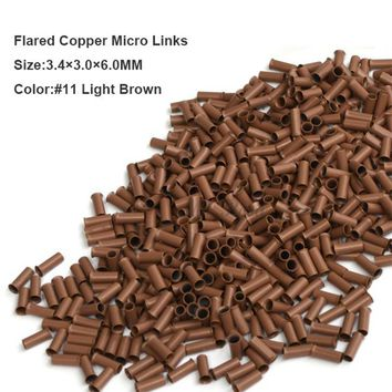 Copper Micro Beads 3.4*3.0*6.0MM 1000Pcs/Bottle #8 Dark Blonde Microring Micro Link Hair Extension Kits