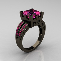 French Vintage 14K Black Gold 3.8 Carat Princess Pink Sapphire Solitaire Ring R222-BGPS