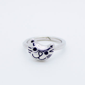 Kitty cat knuckle, midi ring