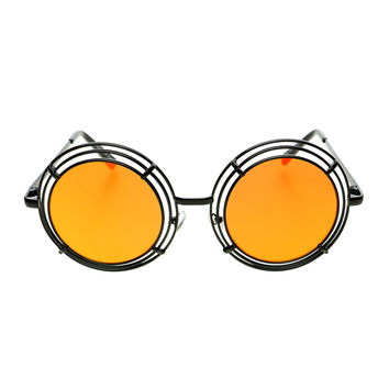 Unique Funky Mirror Lens Large Metal Circle Round Sunglasses R2970