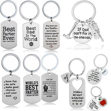 Stainless Steel Pendant Gifts For Mom Dad Son Lover Keyring Keychains Key Chain Ring Family Best Friends Present Friendship
