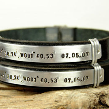 FREE SHIPPING - Personalized Couple Bracelet, Men's Leather Bracelet,Couple Leather Bracelet,Women-Men, Black Leather Aluminum Wire Bracelet