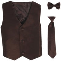 Chocolate Brown Poly-Silk Boys Vest & Tie Set 3M-14