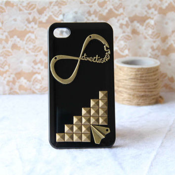 iphone 4 4s 5 case bronze punk style rivet one direction with airplane iphone case 1D directioner phone case friendship love gifts trending