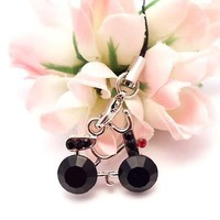 Black Bicycle Cell Phone Charm Strap Rhine Stone