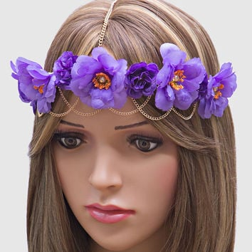 Boho Festival Floral Head Chain Flower Crown Headband - Purple