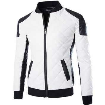 New White Pu Leather Jacket Men Fashion Design Mens Slim Motorcycle Biker Jacket Brand Veste Cuir Homme Jaqueta Couro