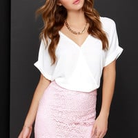 Faithfully Yours Pink Lace Pencil Skirt