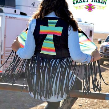 Neon Nights Fringe Vest