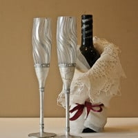 Champagne Flutes, Wedding Glasses, Rustic Glasses, Silver Glasses, HAND PAINTED, Swarovski Glasses, set of 2