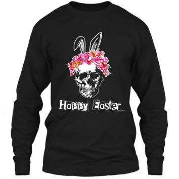 Happy Easter Skull with Rose Flower Crown Bunny Ears Shirt LS Ultra Cotton Tshirt