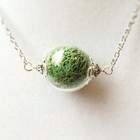 Pale Green Moss Filled Glass Orb Terrarium Necklace in Bronze or Silver, Nature Inspired, Gifts For Her