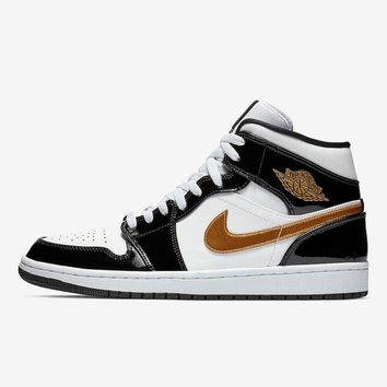 Air Jordan 1 Mid Black White Gold - Best Deal Online