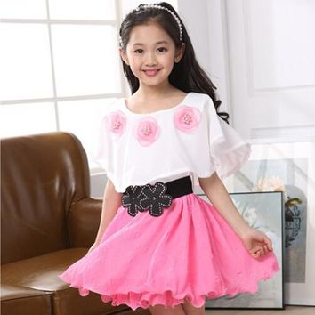 3-12 years girls dresses flowers ruffled chiffon dance tutu princess dress summer children costume vestidos kids clothes 462D