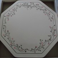 Six Clover Leaf Octagon Table Place Mats Eternal Beau Pink Bow Ribbon Flowers