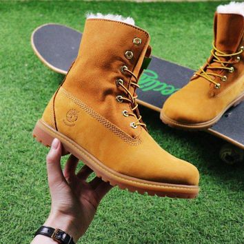 Timberland Authentics Waterproof Fold Down Shearling Wheat-colored Mid Boots Outdoor Sneaker