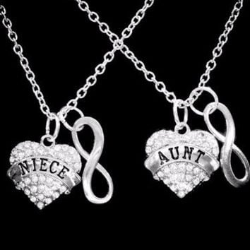 Crystal Aunt Niece Heart Infinity Mother's Day Valentine Gift Charm Necklace Set
