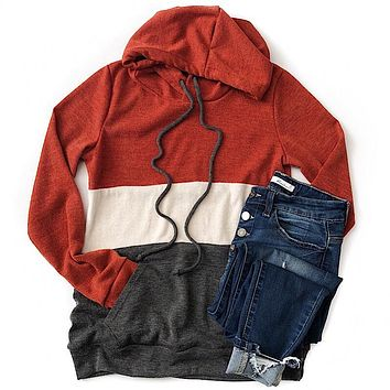 NEW! Rust and Charcoal Color Block Sweater Hoodie