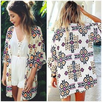 Women Geometry Printed Chiffon Shawl Kimono Cardigan Tops Cover Up Blouse [9305693063]