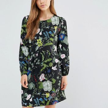 Yumi Flower And Leaf Print Dress