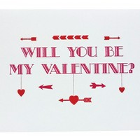 Will you be my Valentine Heart and Arrow - Single Card