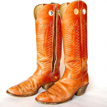 Vintage Cowboy Boots 10.5 D Men's HONDO BOOTS Zippered TALL Western Boots, Chestnut Brown Leather Boots, Stacked Heel, Country Work Boots