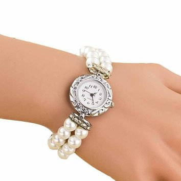 Newly Design Women Girl's Fashion Brand New Pearl Beads Quartz Bracelet Watch Gofuly woman watch 2019
