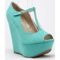 Breckelle Cece-02 Open Peep Toe T-Strap Mary Jane Platform Wedges MINT