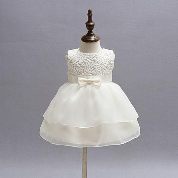 rose flower baby girl dress beige satin belt baby dresses girl clothing for birthday christening vestido infantil 3-24M