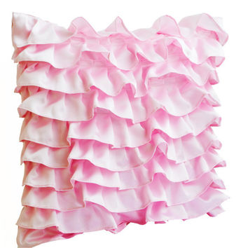Decorative pillow in Soft Pink Satin with Ruffles- Decorative cushion cover - Ruffle throw pillow - 18x18 ruffle pillow - Gift pillow